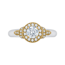 Load image into Gallery viewer, PR0151EC-44WY-.50 Bridal Jewelry Carizza White Gold Rose Gold Yellow Gold Round Diamond Halo Engagement Rings