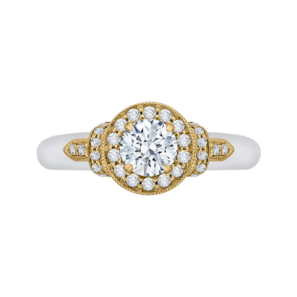 PR0151EC-44WY-.50 Bridal Jewelry Carizza White Gold Rose Gold Yellow Gold Round Diamond Halo Engagement Rings