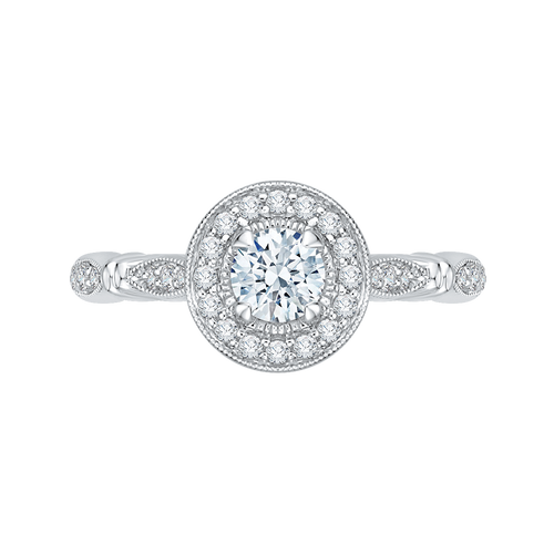 PR0162ECH-44W-.38 Bridal Jewelry Carizza White Gold Vintage Round Diamond Halo Engagement Rings