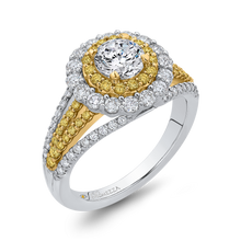 Load image into Gallery viewer, 14K White Gold Round Double Halo Diamond Engagement Ring with Split Shank