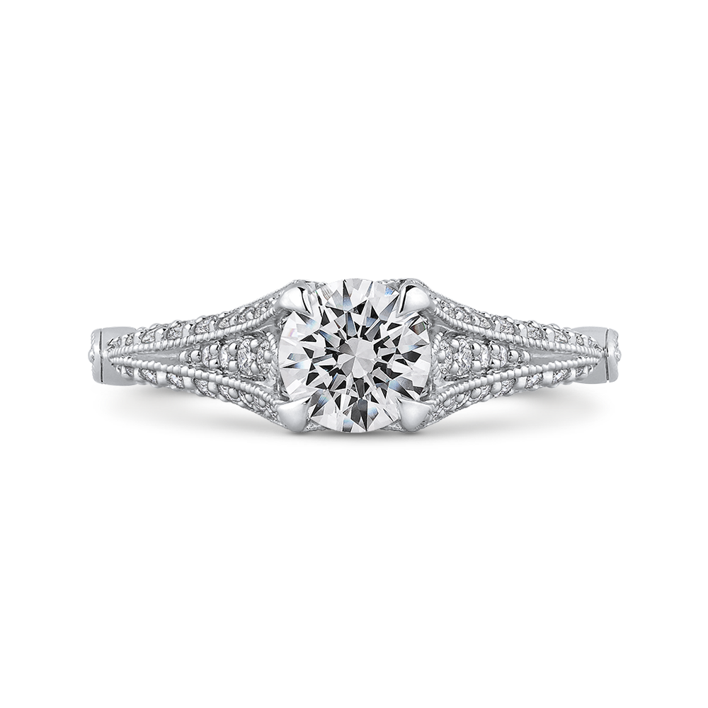 PR0175ECH-44W.75 Bridal Jewelry Carizza White Gold Vintage Round Diamond Engagement Rings