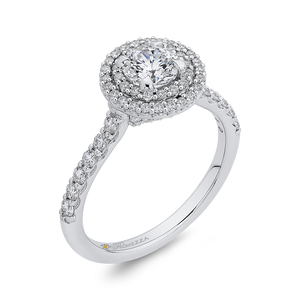 Round Cut Double Halo Diamond Engagement Ring In 14K White Gold