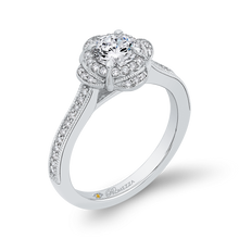 Load image into Gallery viewer, Round Diamond Halo Engagement Ring In 14K White Gold