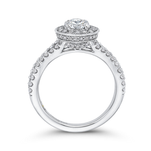 Load image into Gallery viewer, Round Diamond Halo Engagement Ring with Split Shank In 14K White Gold