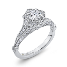 Load image into Gallery viewer, 14K White Gold Round Diamond Vintage Halo Vintage Engagement Ring