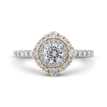 Load image into Gallery viewer, PR0193ECH-44WY-.50 Bridal Jewelry Carizza White Gold Rose Gold Yellow Gold Round Diamond Double Halo Engagement Rings