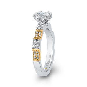 Round Cut Diamond Engagement Ring In 14K Two Tone Gold