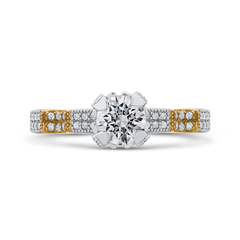 PR0194ECH-44WY-.75 Bridal Jewelry Carizza White Gold Rose Gold Yellow Gold Round Diamond Engagement Rings