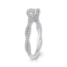 Load image into Gallery viewer, 14K White Gold Round Diamond Engagement Ring with Crossover Shank
