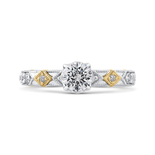 PR0202EC-44WY-.50 Bridal Jewelry Carizza White Gold Rose Gold Yellow Gold Round Diamond Engagement Rings
