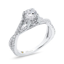 Load image into Gallery viewer, 14K White Gold Round Diamond Criss Cross Engagement Ring