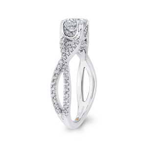 14K White Gold Round Diamond Criss Cross Engagement Ring