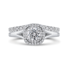 Load image into Gallery viewer, 14K White Gold Round Diamond Double Halo with Spit Shank Engagement Ring
