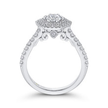 Load image into Gallery viewer, 14K White Gold Round Diamond Hexagon Shape Double Halo Engagement Ring