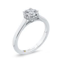 Load image into Gallery viewer, 14K White Gold Round Diamond Hexagon Shape Halo Engagement Ring