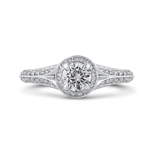 PR0231ECH-44W-.50 Bridal Jewelry Carizza White Gold Vintage Round Diamond Engagement Rings