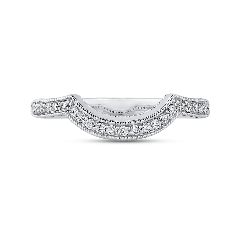PR0245BH-44W-.50 Bridal Jewelry Carizza White Gold Round Diamond Wedding Bands