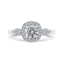Load image into Gallery viewer, PR0247EC-44W-.75 Bridal Jewelry Carizza White Gold Round Diamond Halo Engagement Rings