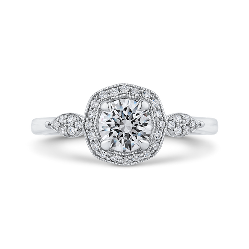 PR0247EC-44W-.75 Bridal Jewelry Carizza White Gold Round Diamond Halo Engagement Rings