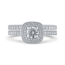 Load image into Gallery viewer, 14K White Gold Round Diamond Double Halo Cathedral Style Engagement Ring
