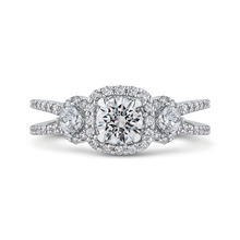 Load image into Gallery viewer, PR0257ECQ-44W-.50 Bridal Jewelry Carizza White Gold Round Diamond Halo Engagement Rings