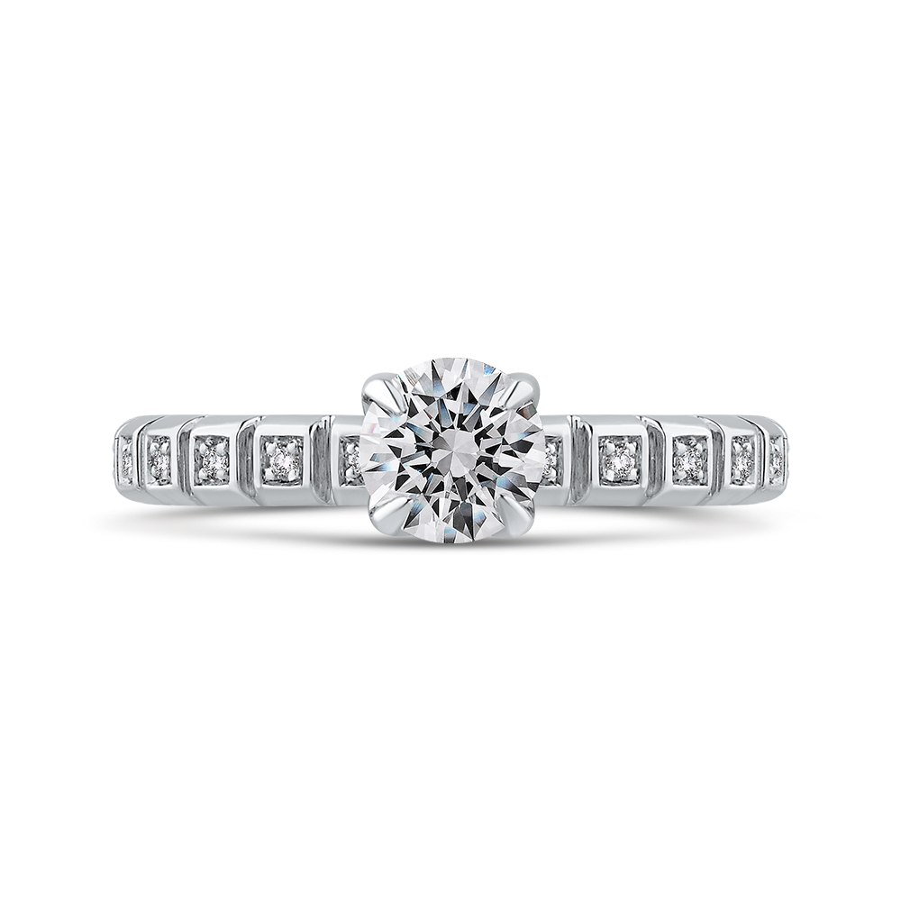 PR0259EC-44W-.75 Bridal Jewelry Carizza White Gold Round Diamond Engagement Rings