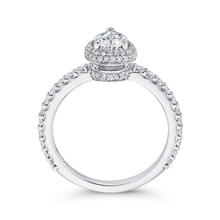 Load image into Gallery viewer, 14K White Gold Pear Diamond Halo Engagement Ring
