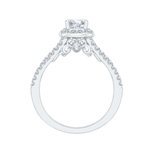 Load image into Gallery viewer, 14K White Gold Emerald Diamond Halo Engagement Ring with Split Shank