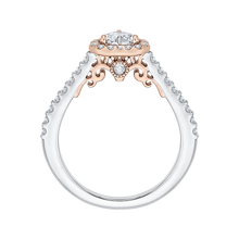 Load image into Gallery viewer, 14K Two Tone Gold Heart Shape Diamond Halo Engagement Ring