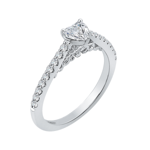 14K White Gold Heart Diamond Vintage Engagement Ring