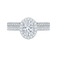 Load image into Gallery viewer, Oval Diamond Halo Engagement Ring In 14K White Gold