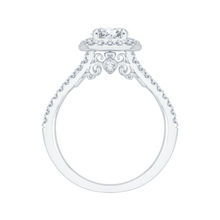 Load image into Gallery viewer, Oval Diamond Halo Engagement Ring In 14K White Gold with Split Shank