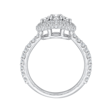 Load image into Gallery viewer, 14K White Gold Oval Diamond Three Stone Halo Engagement Ring