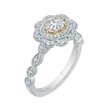 Load image into Gallery viewer, Oval Diamond Floral Halo Engagement Ring In 14K Two Tone Gold