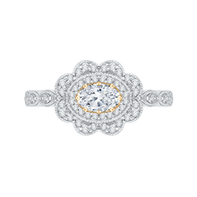 Load image into Gallery viewer, PRO0107ECH-44WY-.50 Bridal Jewelry Carizza White Gold Rose Gold Yellow Gold Oval Diamond Halo Engagement Rings
