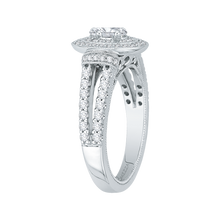 Load image into Gallery viewer, Oval Diamond Double Halo Engagement Ring In 14K White Gold