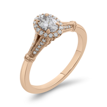 Load image into Gallery viewer, 14K Rose Gold Oval Diamond Halo Cathedral Style Engagement Ring with Split Shank