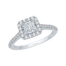 Load image into Gallery viewer, Princess Cut Diamond Halo Engagement Ring with 14K White Gold