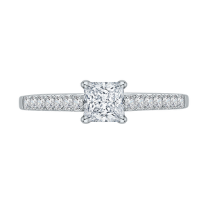 PRP0004EC-02W Bridal Jewelry Carizza White Gold Princess Cut Diamond Engagement Rings