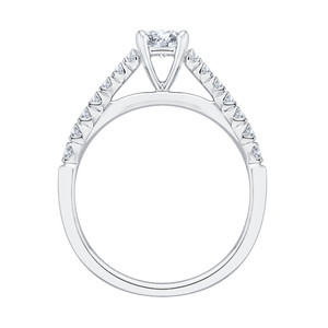 14K White Gold Princess Diamond Cathedral Style Engagement Ring