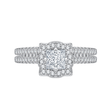 Load image into Gallery viewer, 14K White Gold Princess Diamond Halo Vintage Engagement Ring