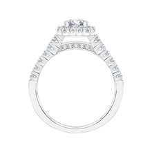 Load image into Gallery viewer, 14K White Gold Princess Cut Diamond Halo Engagement Ring