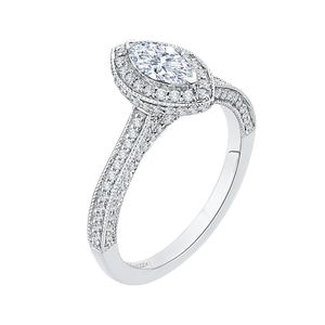 Marquise Diamond Halo Engagement Ring In 14K White Gold