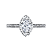 Load image into Gallery viewer, PRQ0133ECH-44W-.50 Bridal Jewelry Carizza White Gold Marquise Cut Diamond Halo Engagement Rings