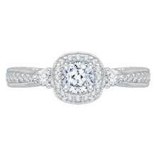 Load image into Gallery viewer, PRU0008EC-02W Bridal Jewelry Carizza White Gold Cushion Cut Diamond Halo Engagement Rings