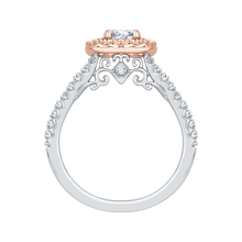 Load image into Gallery viewer, Cushion Diamond Halo Engagement Ring In 14K Two Tone Gold
