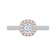 Load image into Gallery viewer, PRU0013EC-44WP Bridal Jewelry Carizza White Gold Rose Gold Yellow Gold Cushion Cut Diamond Halo Engagement Rings