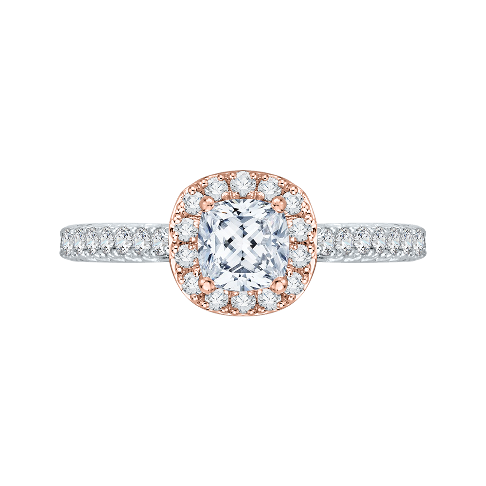 PRU0013EC-44WP Bridal Jewelry Carizza White Gold Rose Gold Yellow Gold Cushion Cut Diamond Halo Engagement Rings