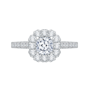 PRU0036EC-02W Bridal Jewelry Carizza White Gold Cushion Cut Diamond Halo Engagement Rings