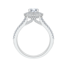 Load image into Gallery viewer, Cushion Cut Diamond Double Halo Engagement Ring In 14K White Gold with Split Shank